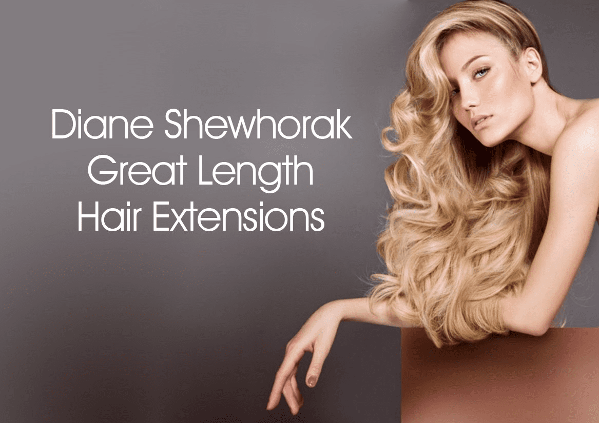 A model with long hair leaning into the right hand side of image with Diane Shewhorak Great Length Hair Extensions written in text.