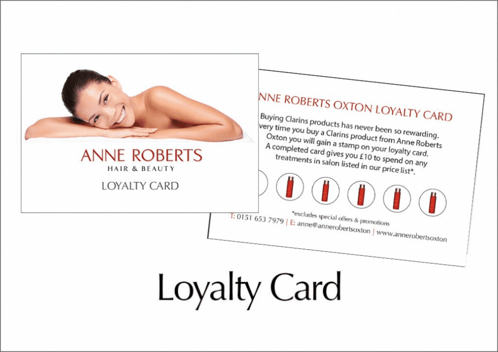 Omage of back and front of anne roberts loyalty card
