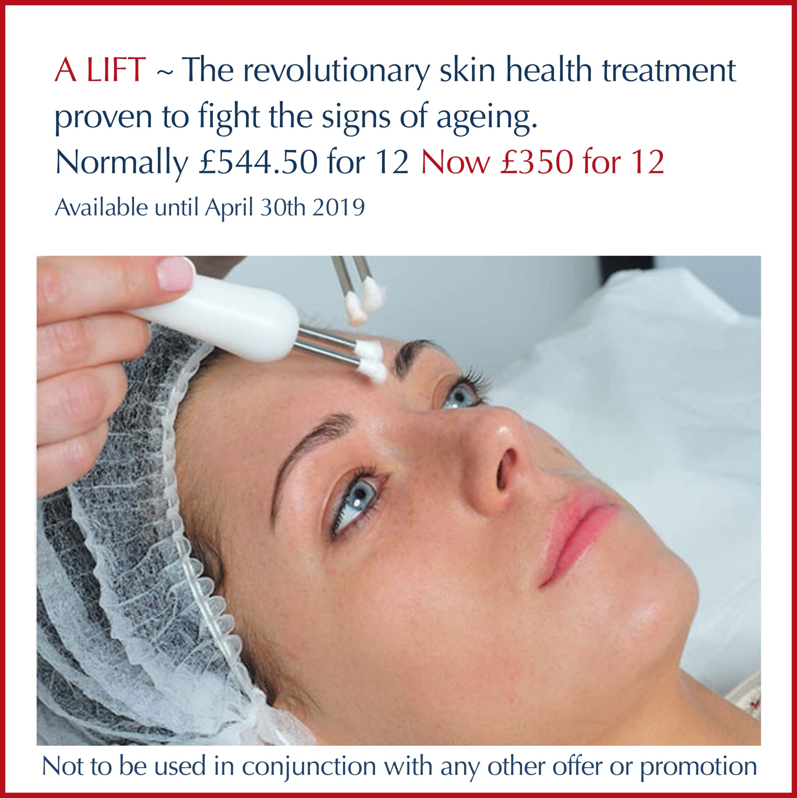 Lady on treatment bed having A Lift treatment on face