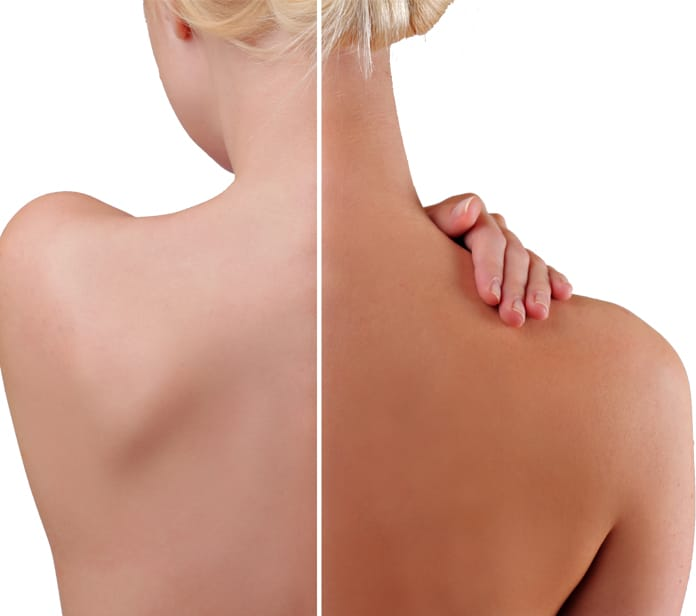 Back of a lady showing before and after a He-Shi Spray Tan