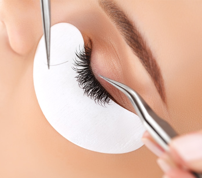 Applying one lash at a time to natural lashes
