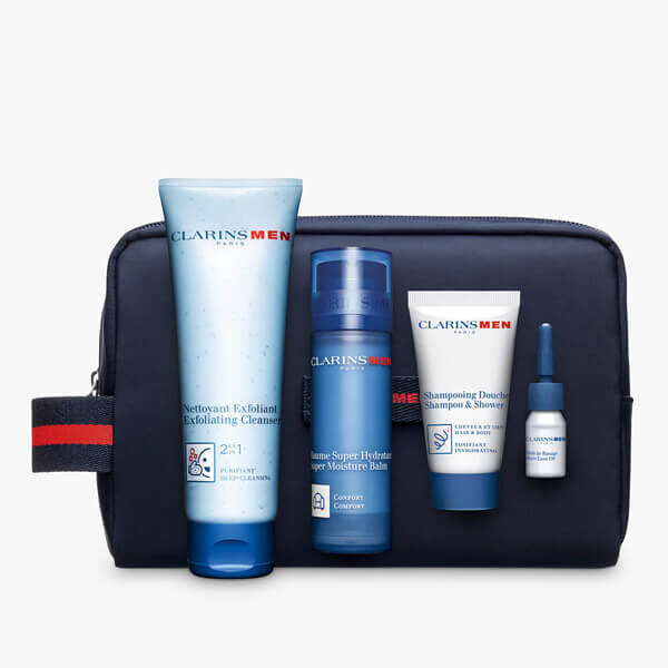 clarinsmen anti aging collection in blue bag