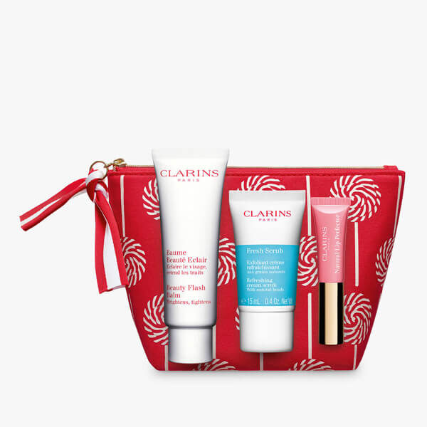 clarins beauty flash collection in red bag