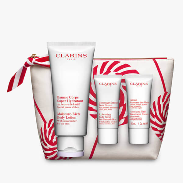 clarins body care collection in white bag