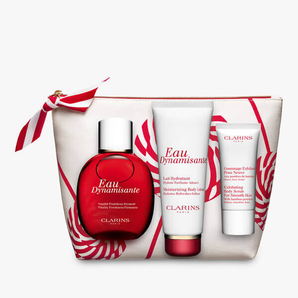 clarins beauty collection in white bag